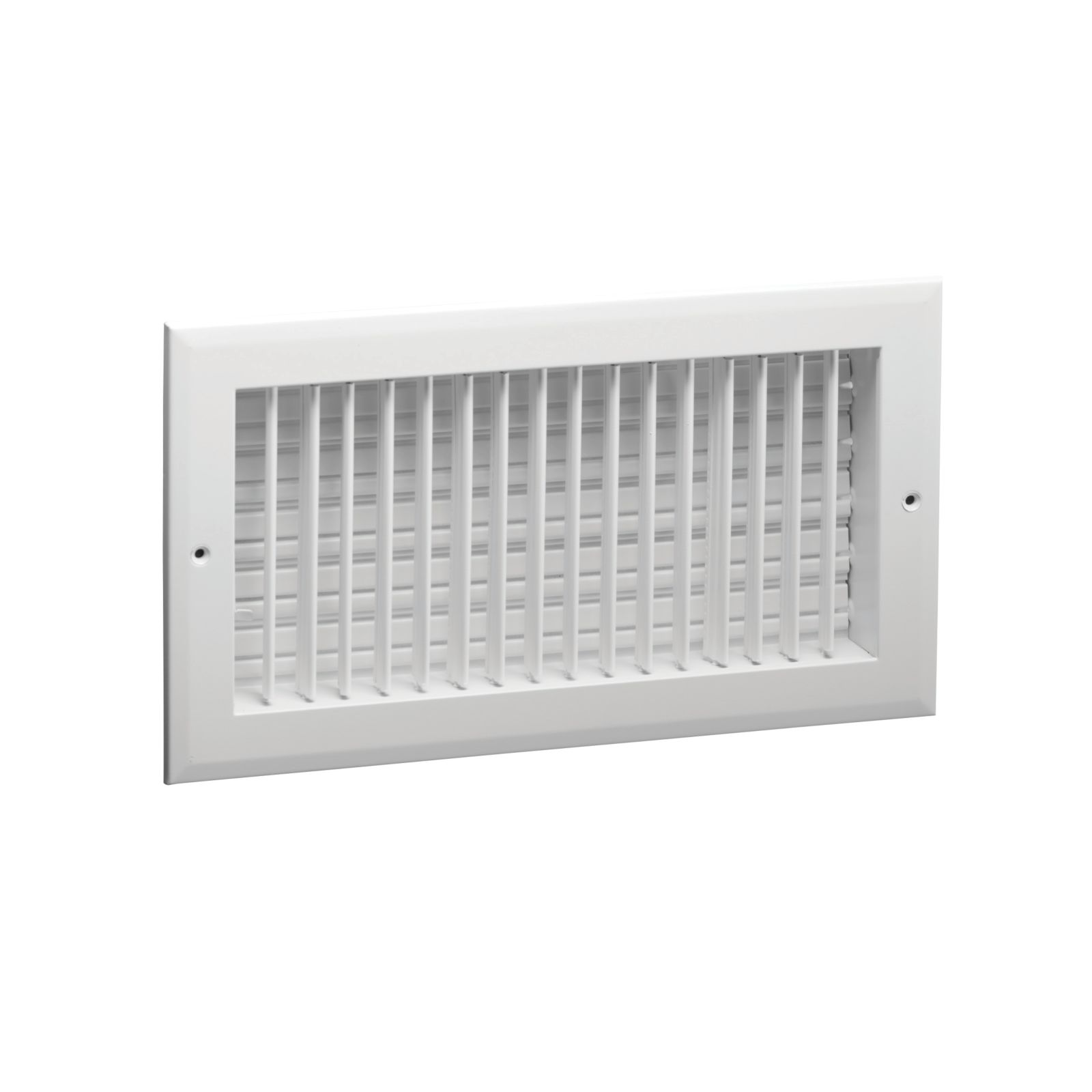 "Hart & Cooley 022443 - Aluminum Straight Blade 4-Way Sidewall/Ceiling Register, Multi-Shutter Damper, White Finish, 8"" X 6"""