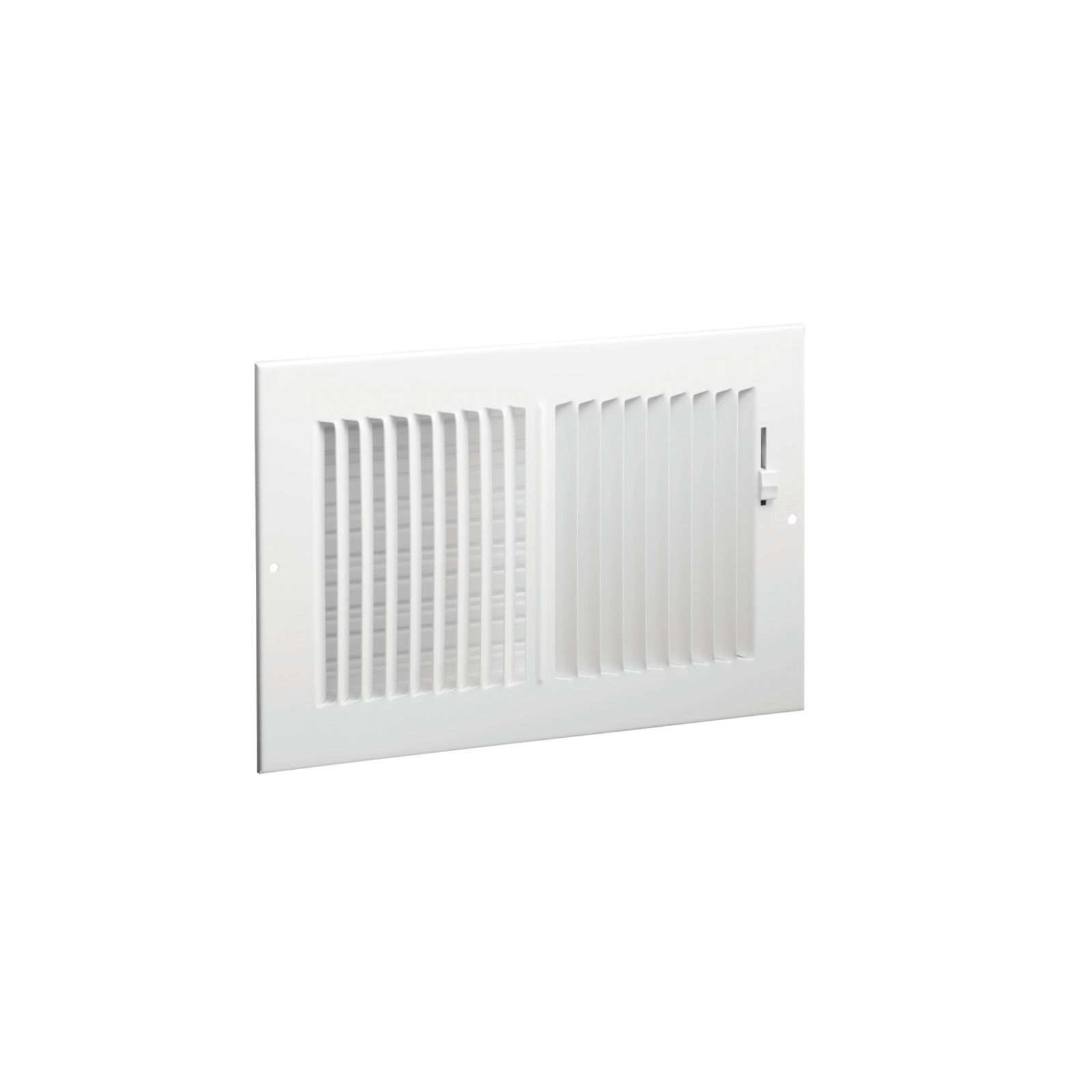 "Hart & Cooley 043830 - #682 Steel 2-Way Sidewall/Ceiling Register, Multi-Shutter Damper With Plastic Handle, White, 10"" X 8"""