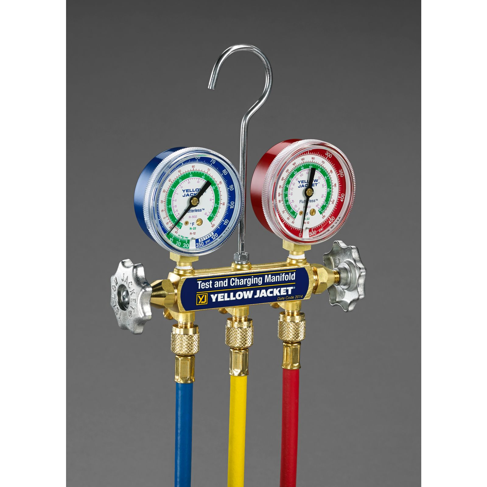 "Yellow Jacket 41215 - Series 41 Manifold with 2-1/2"" Gauges with Plus II Standard Fitting Hoses 5'"