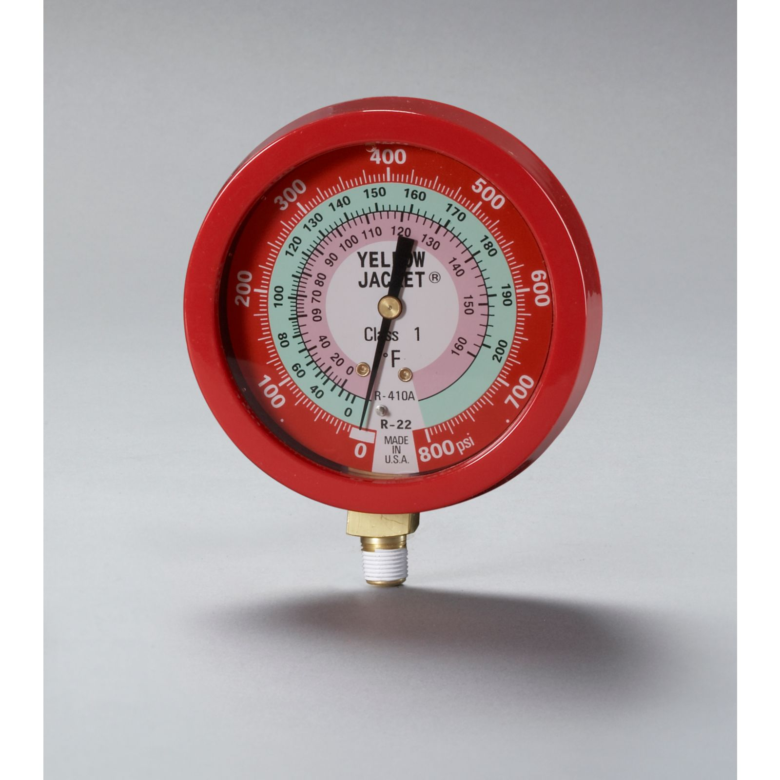 "Yellow Jacket 49515 - Liquid Filled Fahrenheit Red Pressure Manifold Gauge 3-1/2"" for R22/410A"