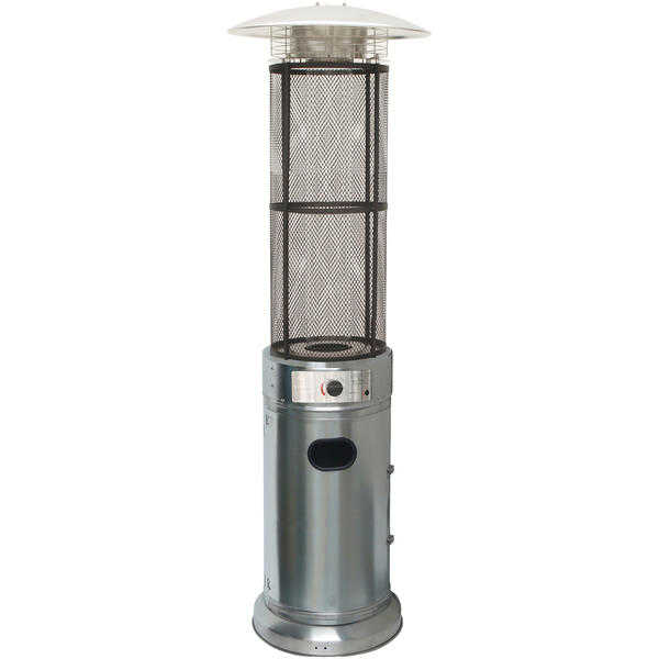 Cambridge 6 Ft. 34,000 BTU Cylinder Patio Heater with Glass Flame Display in Stainless Steel