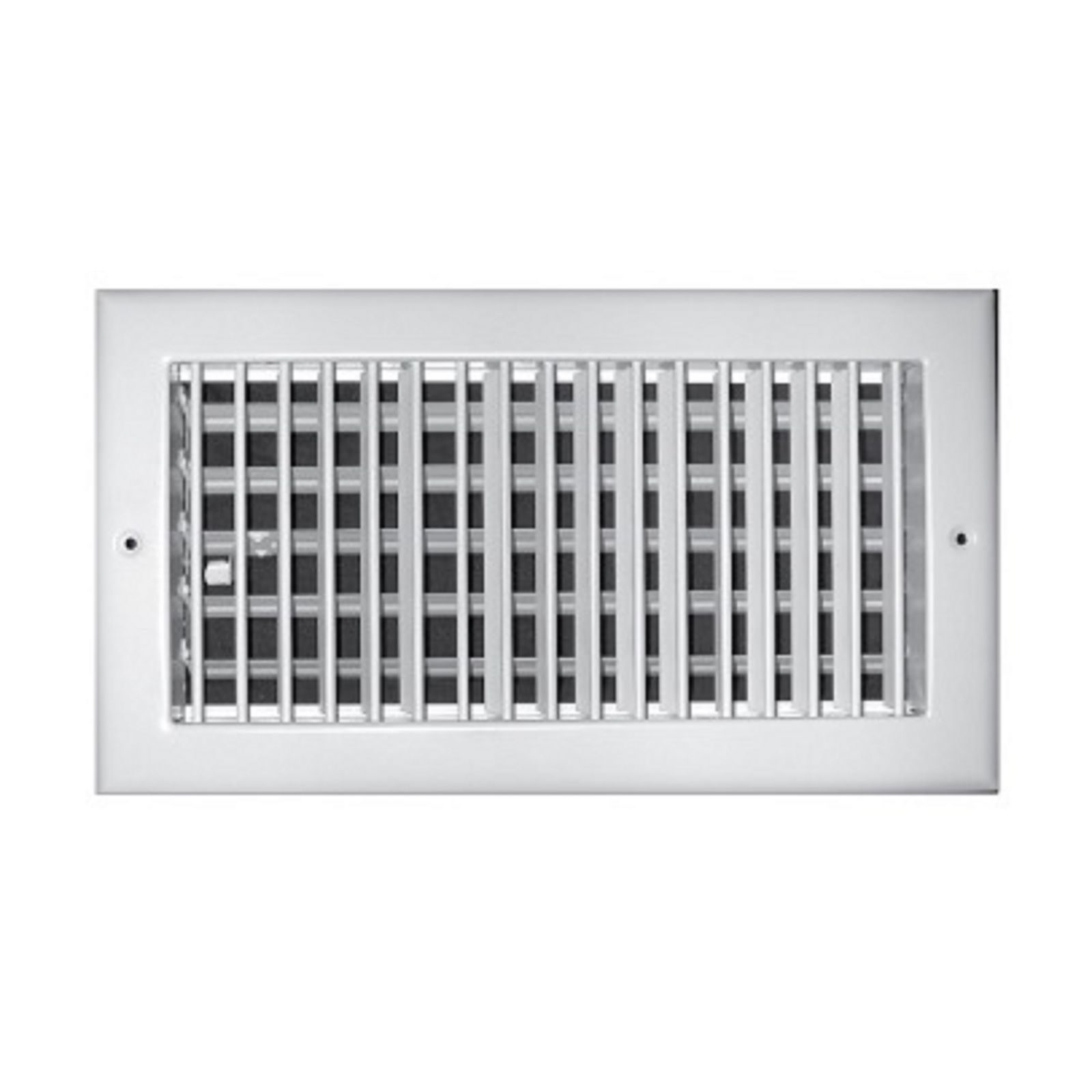 "TRUaire A210VM 08X04 - Aluminum Adjustable 1-Way Wall/Ceiling Register, Vertical, Multi Shutter Damper, White, 08"" X 04"""