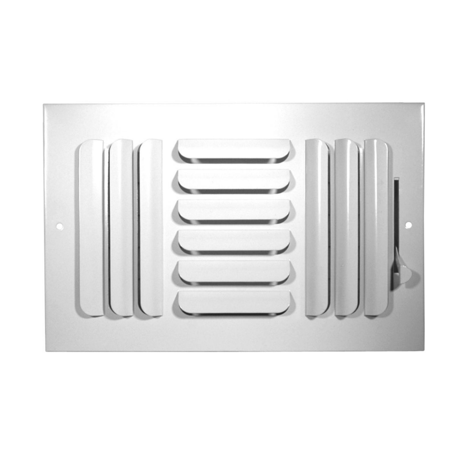 "Grille Tech CB3W12X08 - Stamped Steel Ceiling Air Register Curved Blade 3-Way 12"" X 8"" White"