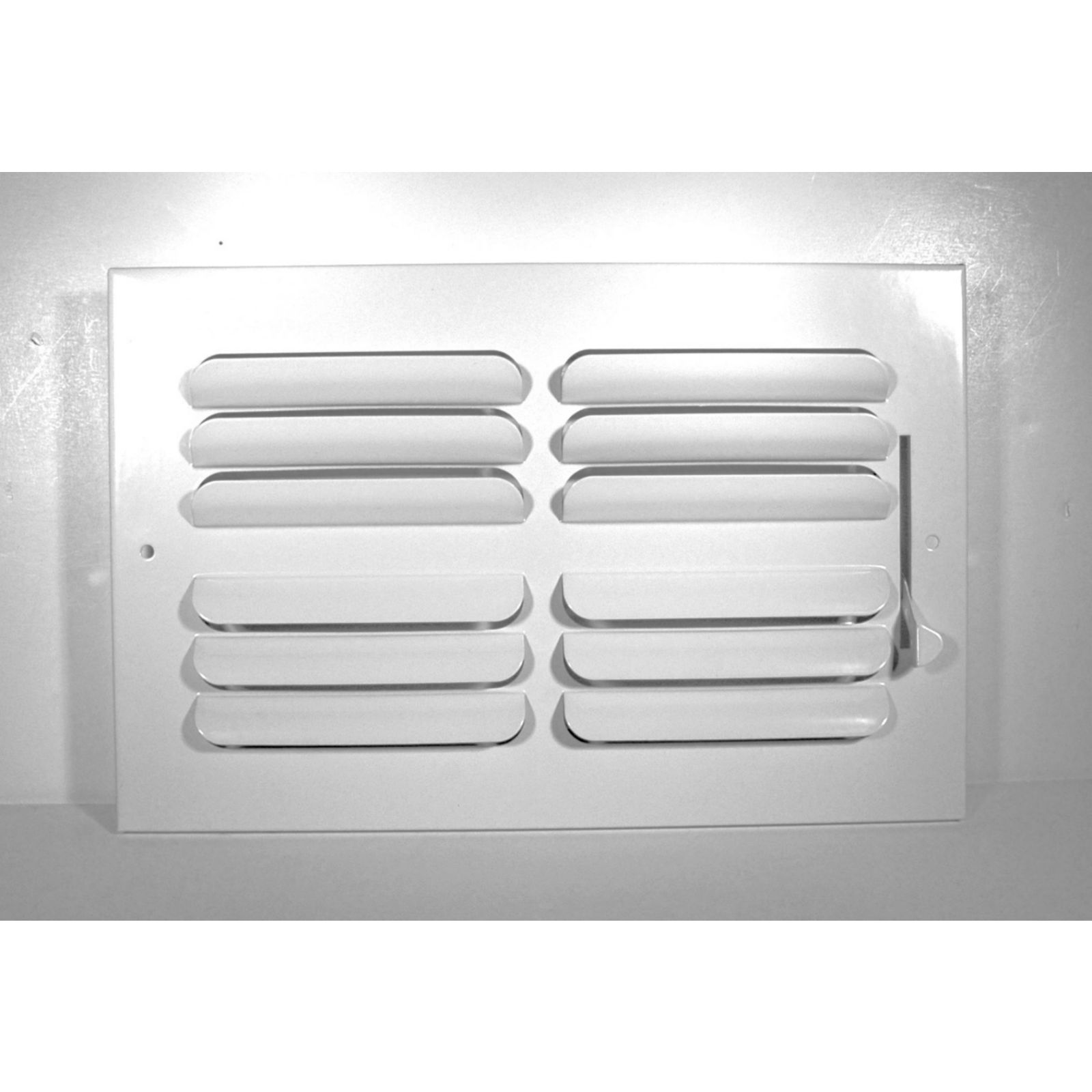 "Grille Tech CB4W08X08 - Stamped Steel Ceiling Air Register Curved Blade 4-Way 8"" X 8"" White"