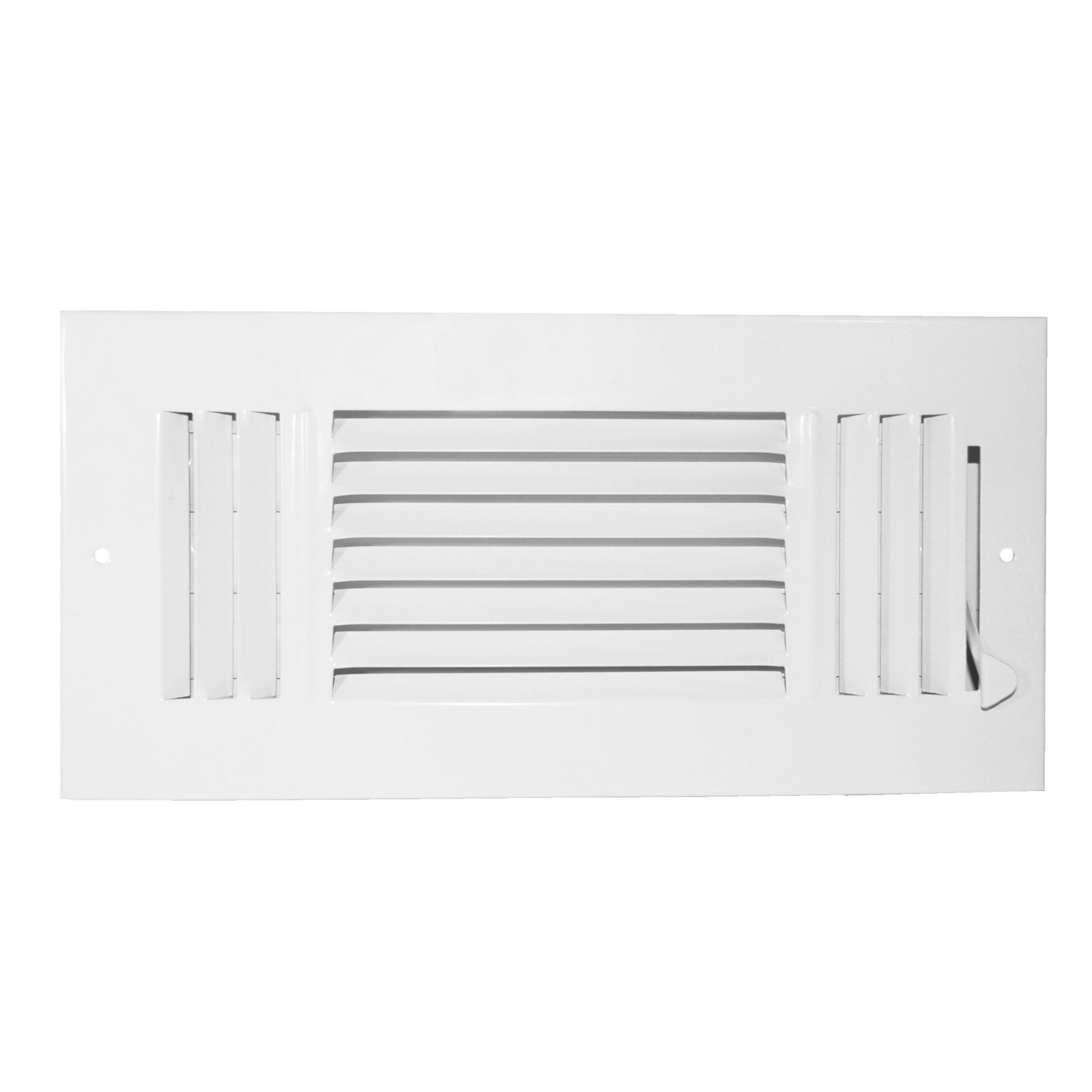 "Grille Tech SW3W8X4 - Steel Sidewall Air Register 3-Way 8"" X 4"" White"