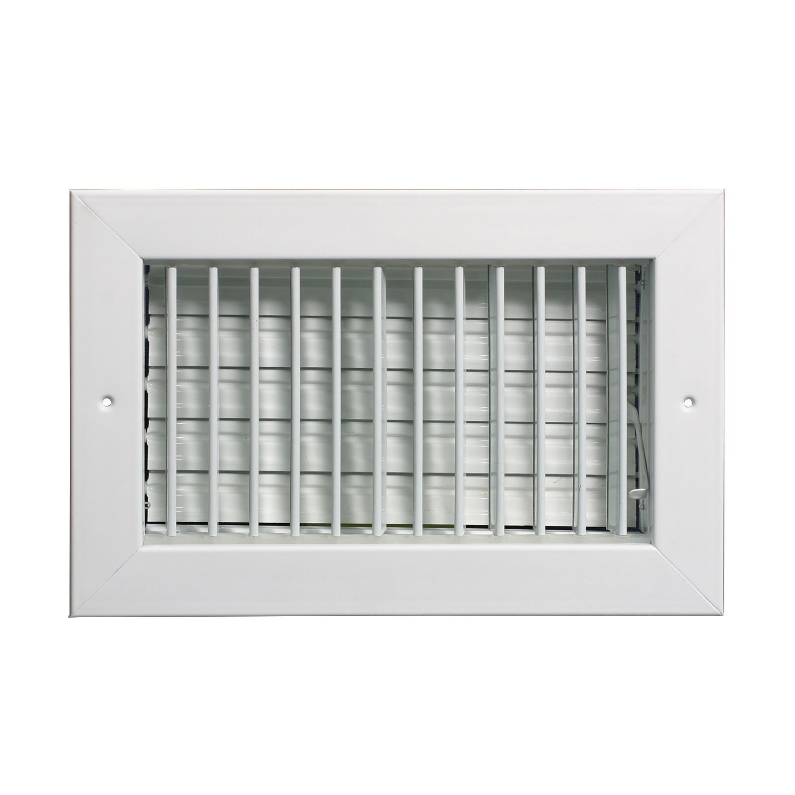 "Grille Tech VM1404 - Aluminum Vertical Blade Sidewall Register, Multi-Shutter Damper 14"" X 4"" White"